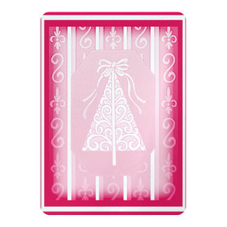 "Pink And White Swirls Stripes Christmas Tree 5"" X 7"" Invitation Card"