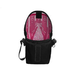 Pink And White Swirls Stripes Christmas Tree Messenger Bag