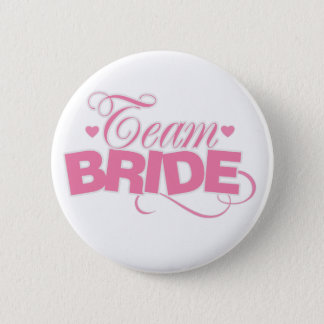 Pink And White Team Bride 2 Inch Round Button