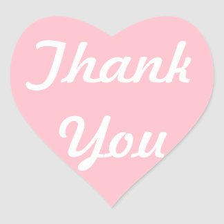 Pink and White Thank You Heart Sticker