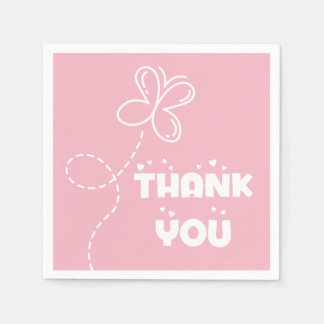 Pink And White Thank You Hearts & Butterfly Paper Napkins