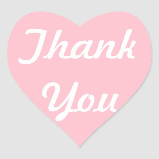 Pink and White Thank You Stickers