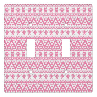 Pink and white tribal pattern light switch cover