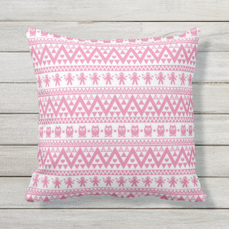 Pink and white tribal pattern throw pillow