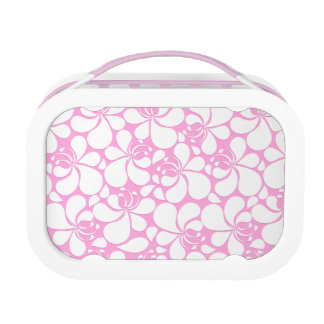 Pink and white tropical floral lunch box
