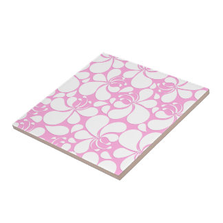 Pink and white tropical floral tile