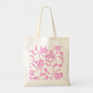 Pink and white tropical floral tote bag