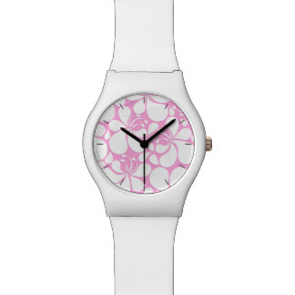 Pink and white tropical floral watch