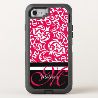 Pink and White Tudor Damask Name and Monogram OtterBox Defender iPhone 7 Case