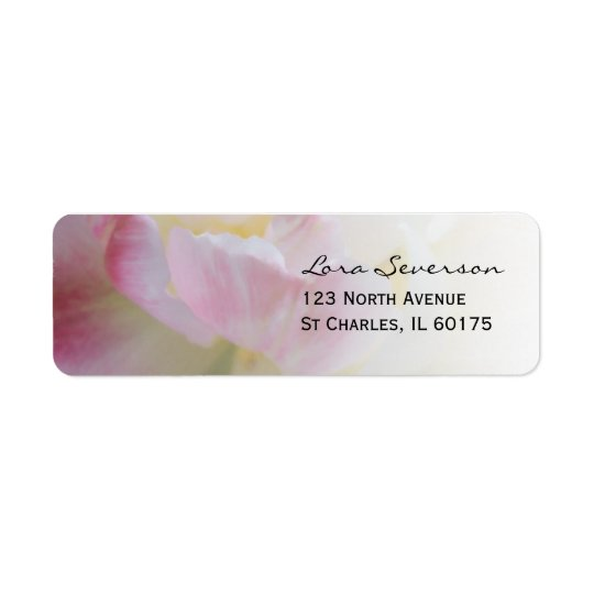 Pink and White Tulip Flower Return Address
