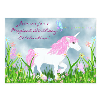 Pink and White Unicorn Magical Birthday Invitation