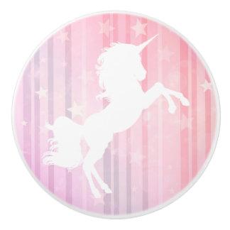 Pink and White Unicorn Stars Fairytale Knob