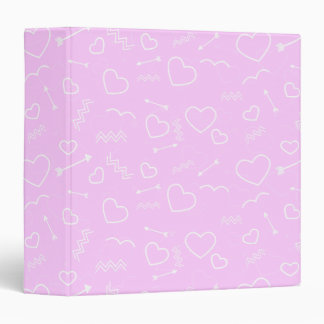 Pink and White Valentines Love Heart and Arrow Binder