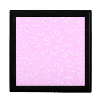 Pink and White Valentines Love Heart and Arrow Gift Box
