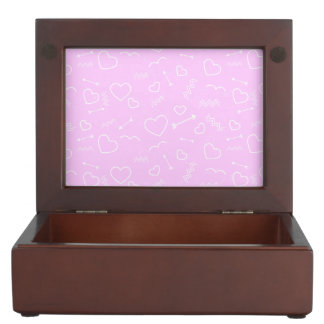 Pink and White Valentines Love Heart and Arrow Keepsake Box