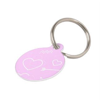 Pink and White Valentines Love Heart and Arrow Pet Name Tag