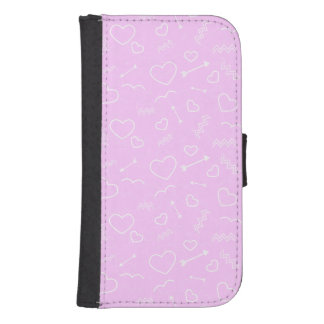 Pink and White Valentines Love Heart and Arrow Samsung S4 Wallet Case