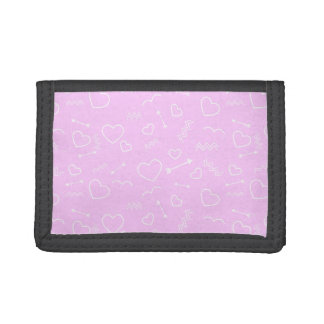 Pink and White Valentines Love Heart and Arrow Tri-fold Wallets