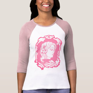 Pink and White Victorian Lady Cameo Women's Raglan T-Shirt