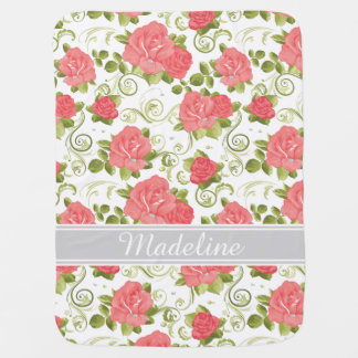 Pink and White Vintage Roses Monogram Baby Blanket