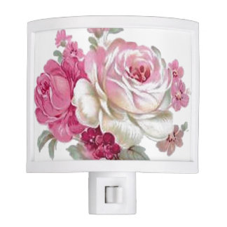 Pink and White Vintage Roses Nite Lights