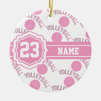 Pink and White Volleyball Ceramic Ornament