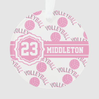 Pink and White Volleyball Design Ornament