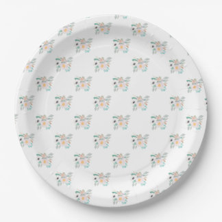 Pink and White Watercolor Bouquet Pattern 9 Inch Paper Plate