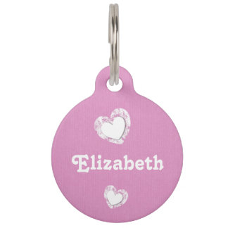Pink and White with Grunge Hearts and Custom Name Pet Tags