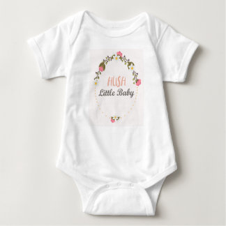 Pink And White Wreath Floral Hush, Little Baby Baby Bodysuit