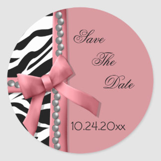 Pink And White Zebra Gems Classic Round Sticker