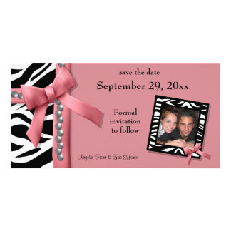 Pink And White Zebra Gems Save The Date Card Photo Greeting Card