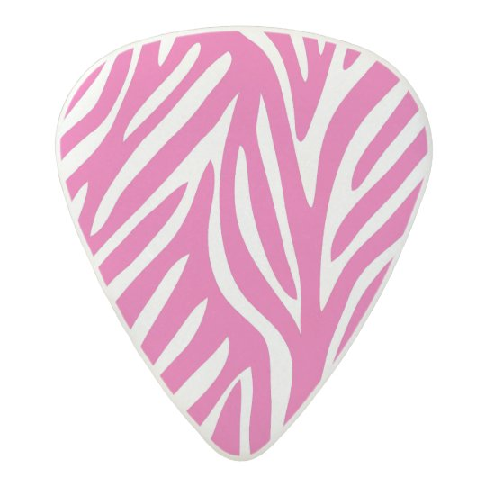 Pink and White Zebra Stripes Acetal Guitar Pick