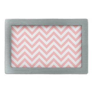 Pink and White Zigzag Stripes Chevron Pattern Belt Buckle