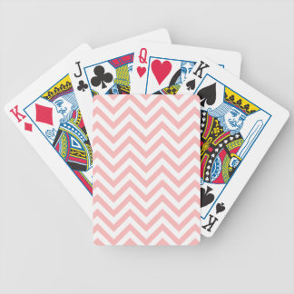 Pink and White Zigzag Stripes Chevron Pattern Bicycle Playing Cards