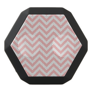 Pink and White Zigzag Stripes Chevron Pattern Black Bluetooth Speaker