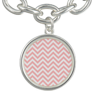 Pink and White Zigzag Stripes Chevron Pattern Bracelets