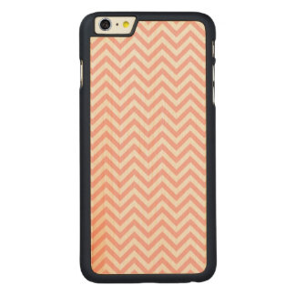 Pink and White Zigzag Stripes Chevron Pattern Carved Maple iPhone 6 Plus Case