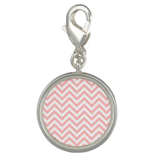 Pink and White Zigzag Stripes Chevron Pattern Charm