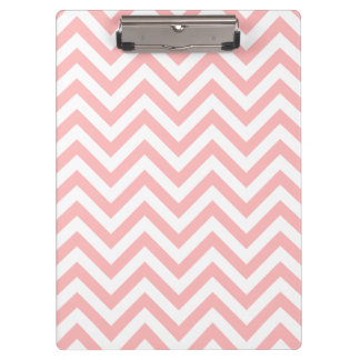 Pink and White Zigzag Stripes Chevron Pattern Clipboard