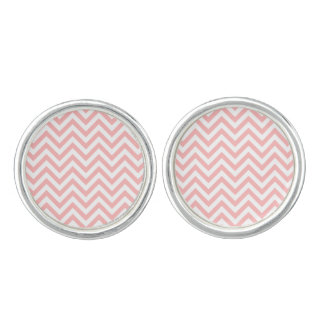 Pink and White Zigzag Stripes Chevron Pattern Cuff Links