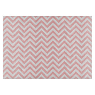 Pink and White Zigzag Stripes Chevron Pattern Cutting Board