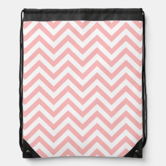 Pink and White Zigzag Stripes Chevron Pattern Drawstring Bag