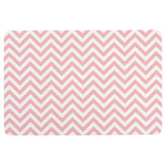 Pink and White Zigzag Stripes Chevron Pattern Floor Mat