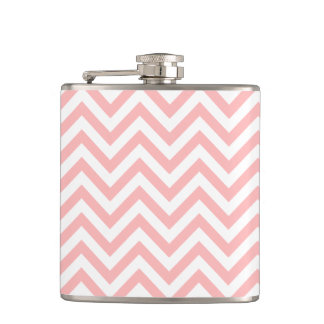 Pink and White Zigzag Stripes Chevron Pattern Hip Flask