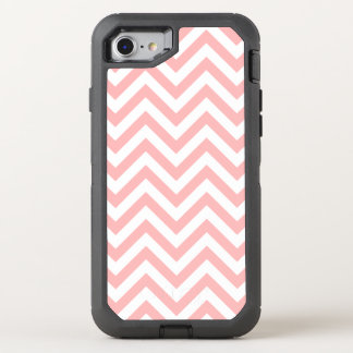 Pink and White Zigzag Stripes Chevron Pattern OtterBox Defender iPhone 8/7 Case