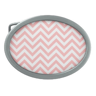 Pink and White Zigzag Stripes Chevron Pattern Oval Belt Buckle