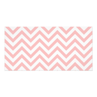 Pink and White Zigzag Stripes Chevron Pattern Personalized Photo Card