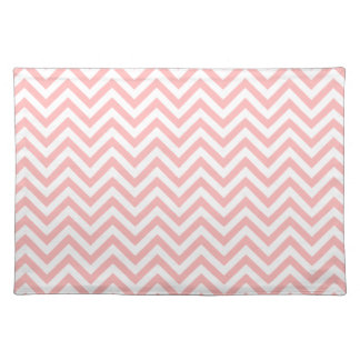 Pink and White Zigzag Stripes Chevron Pattern Placemat