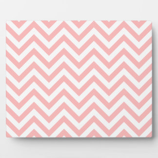 Pink and White Zigzag Stripes Chevron Pattern Plaque